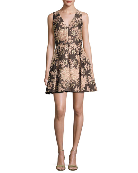Willow Sleeveless Pleated Floral Jacquard Fit-and-Flare Dress, Multicolor