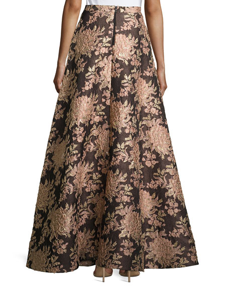 Rachelle Floral Jacquard Ball Skirt, Multicolor