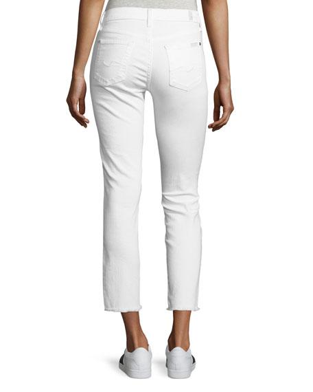 Roxanne Raw-Edge Ankle Skinny Jeans, White
