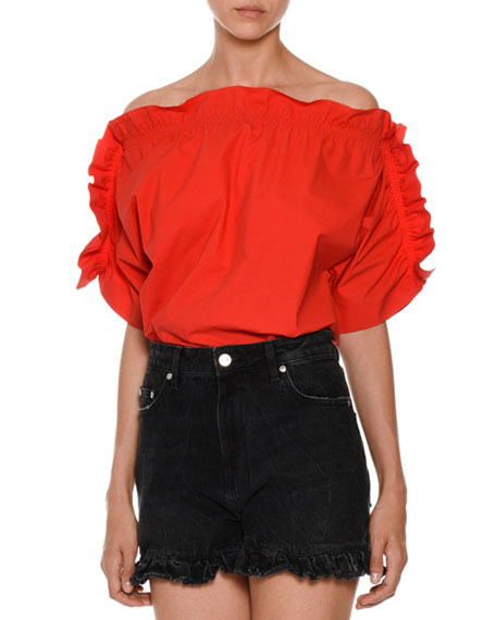 Off-the-Shoulder Ruffle-Trim Poplin Top, Red