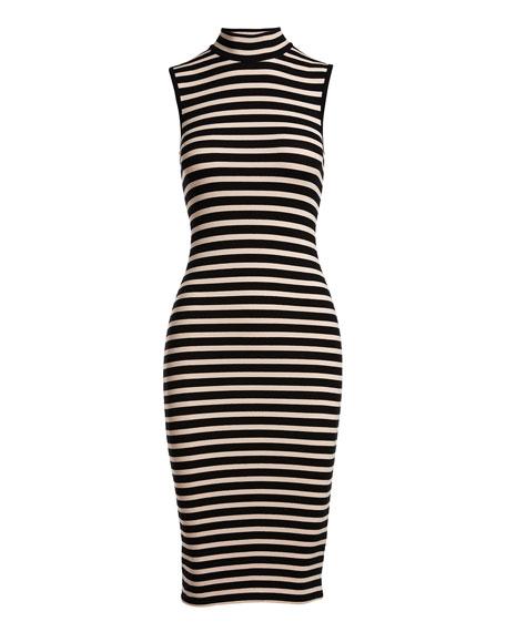 Sleeveless Striped Stretch Jersey Dress, Pink/Black