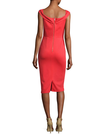Sienna Off-the-Shoulder Sheath Dress, Bright Red
