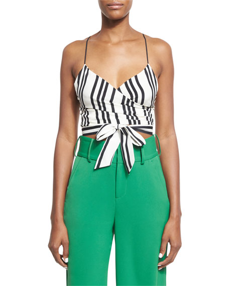 Rayna Striped Tie-Front Cropped Tank Top, Black/White