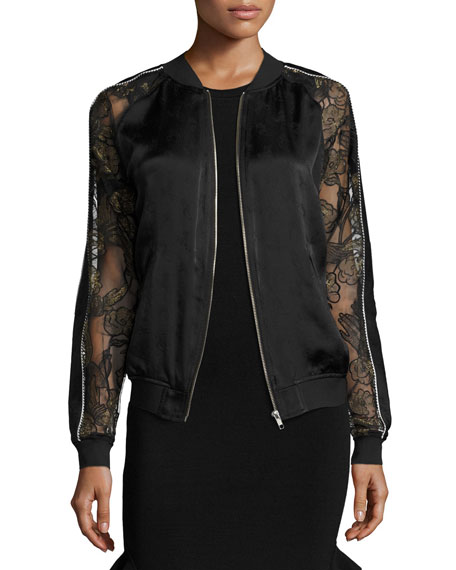 Gestures Lace & Satin Bomber Jacket, Black