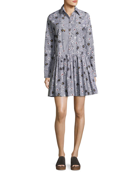 Opening Ceremony Long-Sleeve Floral Striped Poplin Shirtdress,