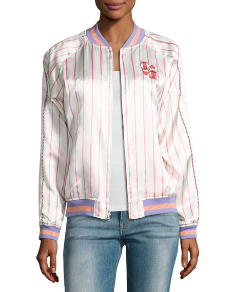 Fairytale Embroidered Silk Reversible Bomber Jacket, Lavender
