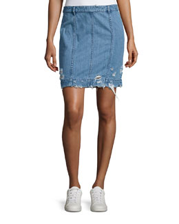 Distressed Stretch Denim Skirt, Indigo