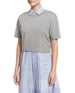 Lara Cropped Heathered Jersey Tee, Gray