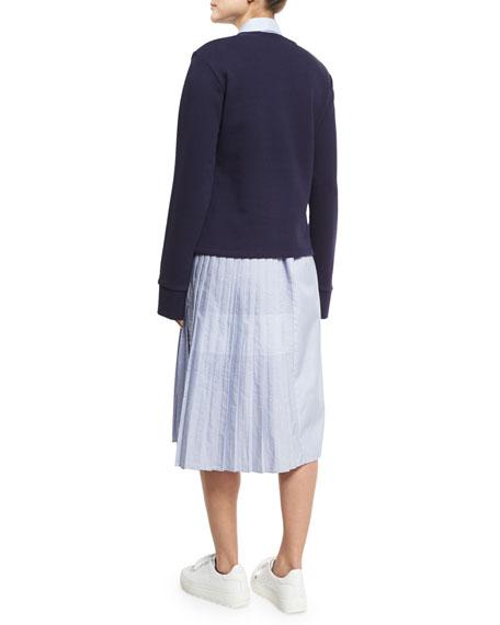 Leighton Laced Crewneck Sweatshirt, Navy