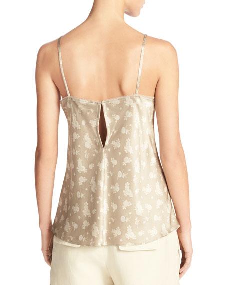 Calico Floral Silk Satin V-Neck Camisole