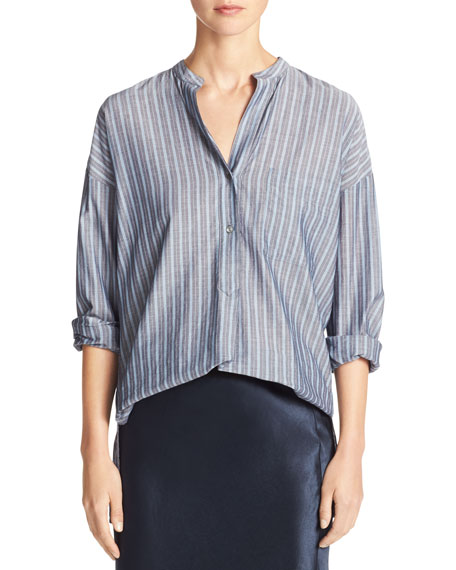 Wide-Stripe Mandarin-Collar Pullover Shirt, Blue