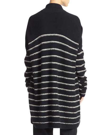 Plush Striped Long Cardigan, Blue/White