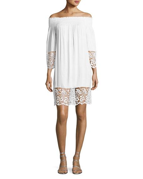Lise Charmel Plage et Ville Off-the-Shoulder Lace-Trim Dress,