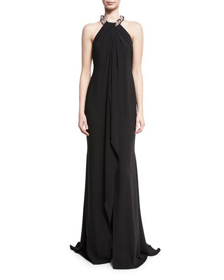 Chiffon Toga Gown, Black