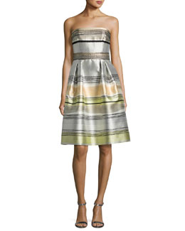 Striped Strapless Satin A-Line Dress, Sand/Multicolor