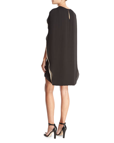 Cape-Back Cocktail Dress, Black/Champagne