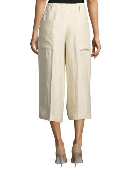 Tai Linen Twill Wide-Leg Cropped Pants