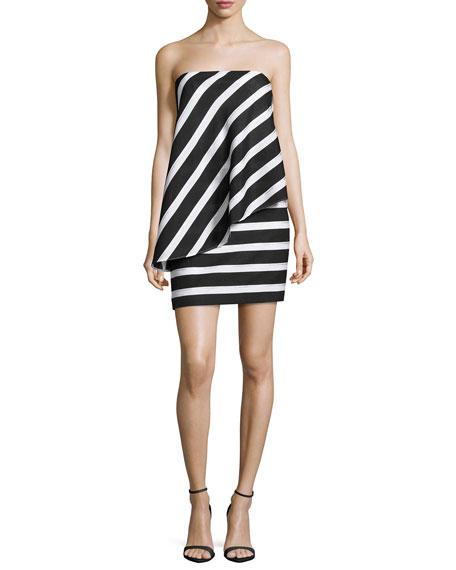 Halston Heritage Strapless Asymmetric-Popover Cocktail Dress,