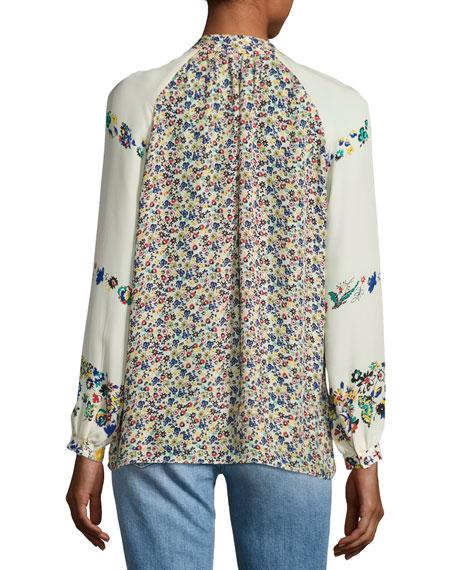 Nehru Long-Sleeve Floral Silk Blouse