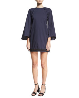Bell-Sleeve A-Line Dress w/ Lacing