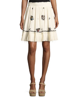 Embroidered Silk Mini Skirt, Cream