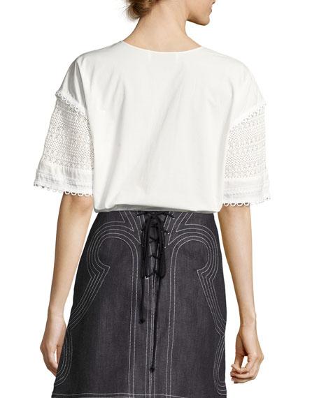 Short-Sleeve Poplin & Crochet Top, White