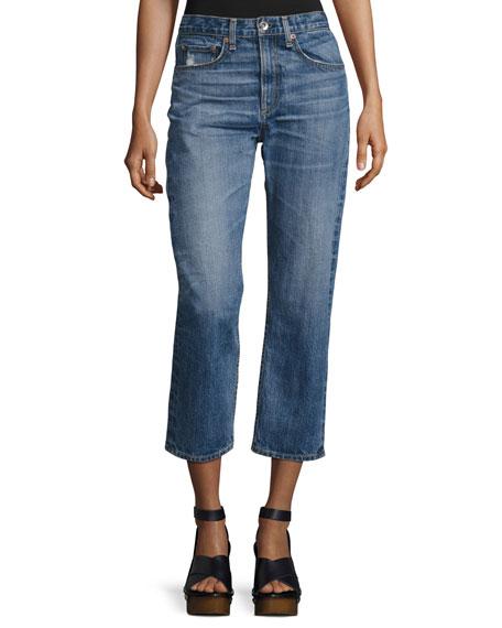 rag & bone/JEAN Marilyn High-Rise Cropped Straight-Leg Jeans,