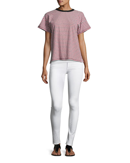 Mid-Rise Skinny Denim Jeans, White