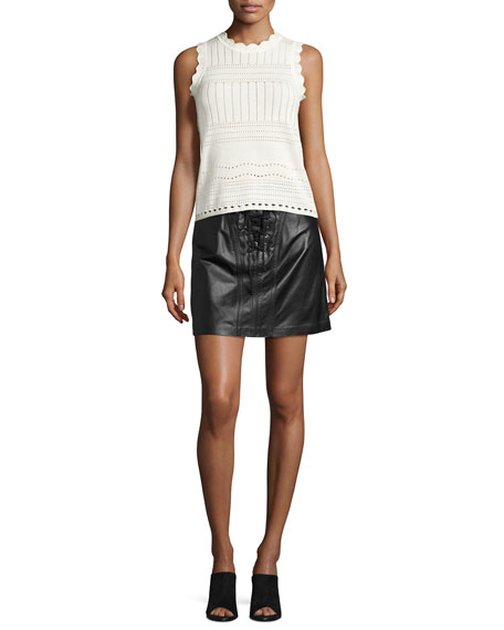 Laced Leather Mini Skirt, Black