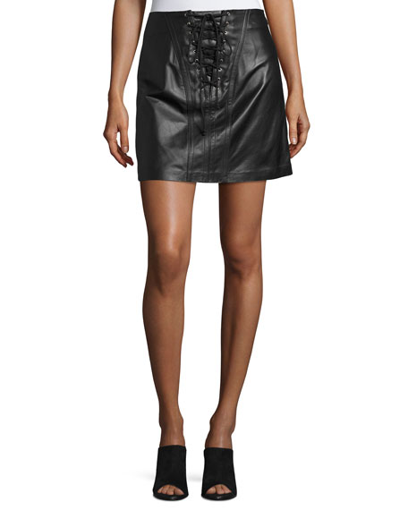Laced Leather Mini Skirt, Black