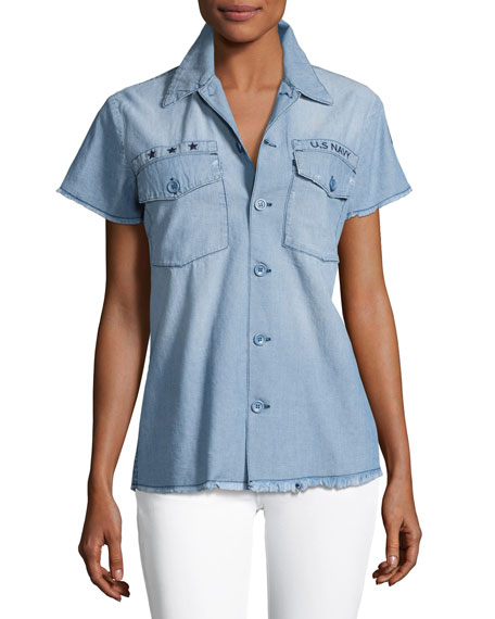 Etienne Marcel Short-Sleeve Denim Shirt, Blue