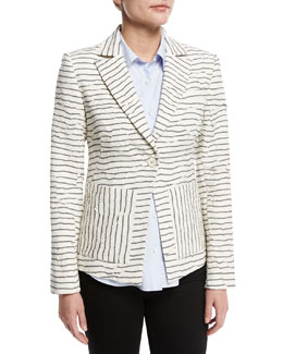 Striped Textured Single-Button Blazer, White