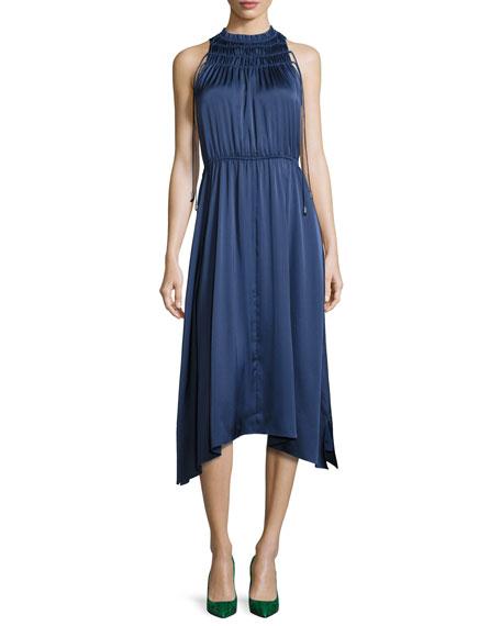 Sleeveless Shirred Satin Midi Dress, Slate