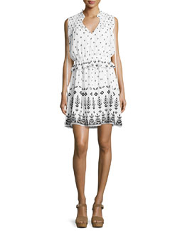 Sleeveless Embroidered 2-in-1 Poplin Dress, White