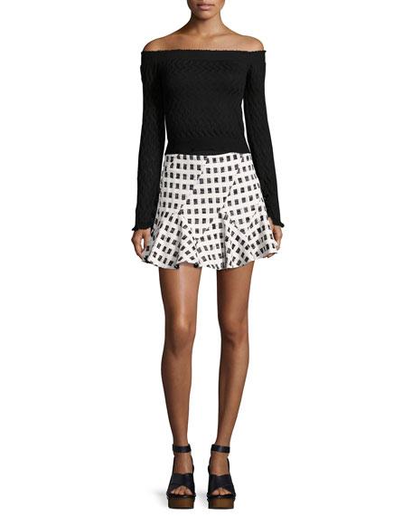 Flared Mini Skirt W/ Lacing, Black/White