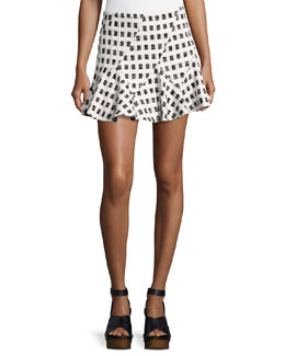 Flared Mini Skirt W/ Lacing, Black/White