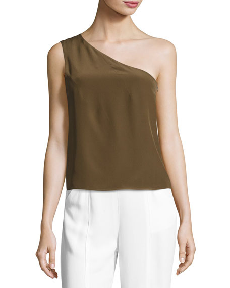 ZEUS AND DIONE SILK ONE-SHOULDER TOP