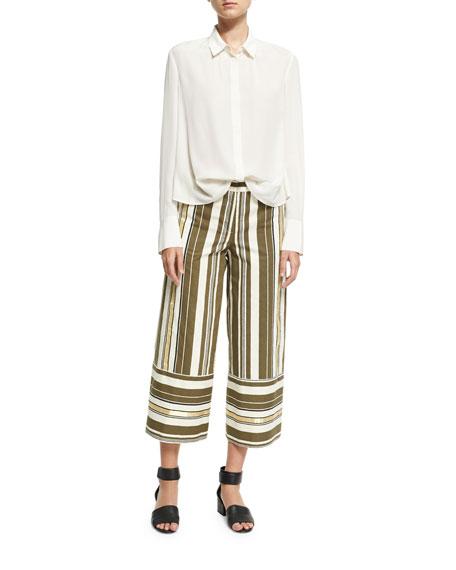 Striped Crop-Leg Pants