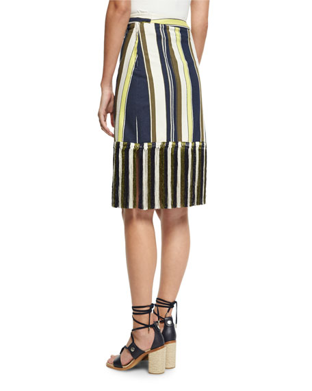 Striped Fringe-Hem Skirt