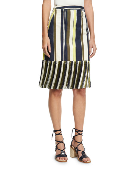ZEUS AND DIONE Striped Fringe-Hem Skirt in Multi Pattern