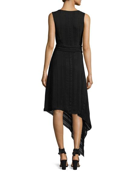 Asymmetric Scoop-Neck Midi Dress