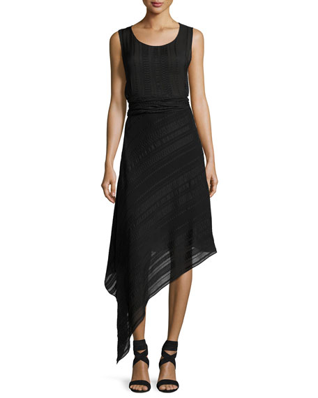 Asymmetric Scoop-Neck Midi Dress