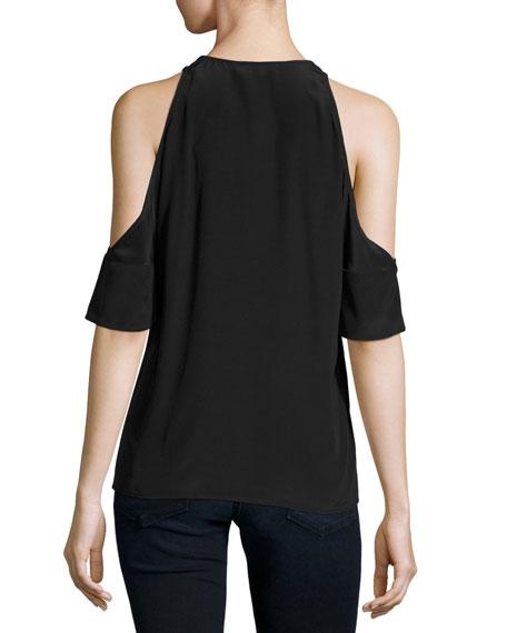Crepe Cold-Shoulder Blouse