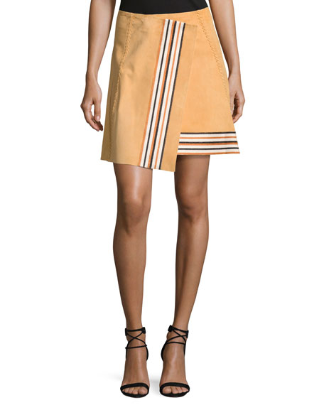ZEUS AND DIONE STRIPED SUEDE WRAP MINI SKIRT