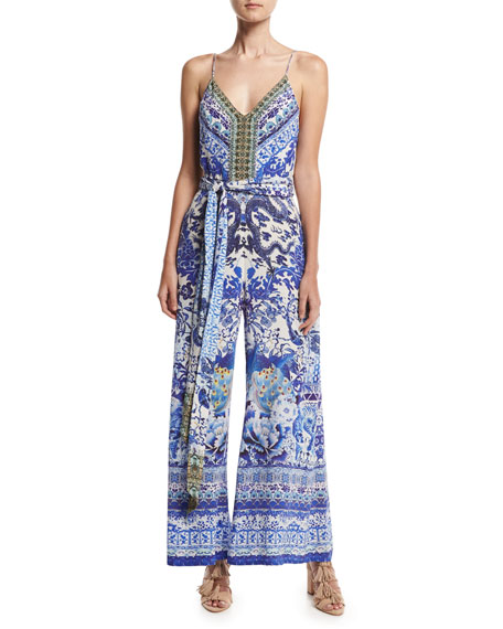 Camilla Belted Wide-Leg Jumpsuit, Guardian of Secrets