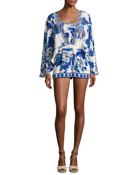 Camilla Long-Sleeve Cape Playsuit, Ring Of Roses
