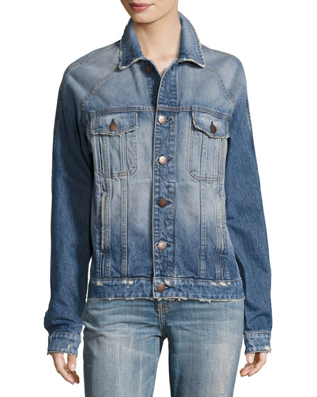 The Raglan Distressed Denim Jacket, Indigo