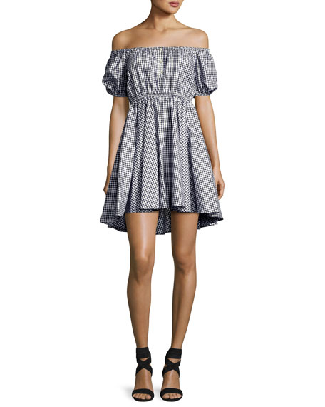 Gingham Off-the-Shoulder Bardot Dress, Navy/White