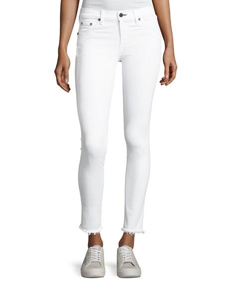 rag & bone/JEAN Mid-Rise Skinny-Leg Frayed Hem Jeans,