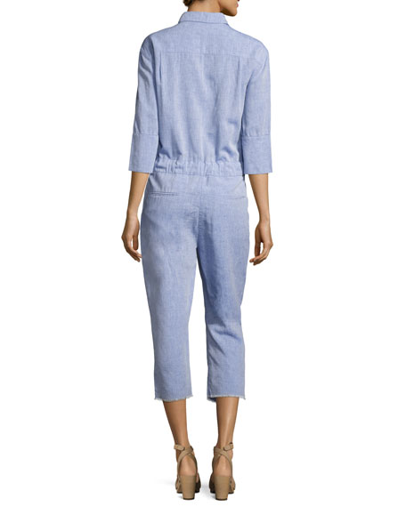 Watermill 3/4-Sleeve Belted Jumpsuit, Blue